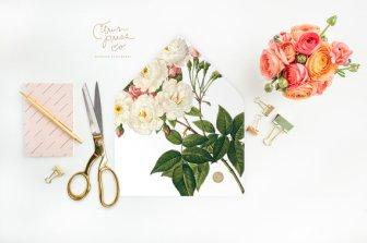 DIY roses envelope liner - www.etsy.com/shop/CitrusPressCo
