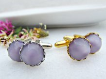 Lavender and gold cufflinks - www.etsy.com/shop/RedGarnetStudio
