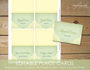 Printable, customisable placecards - www.etsy.com/shop/MyCrayonsPapeterie