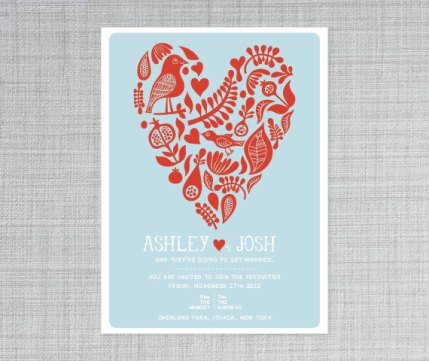 Red and light blue wedding invitation - www.etsy.com/shop/deaandbean