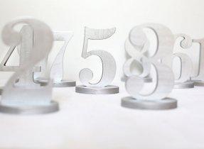 Silver wooden table numbers - www.etsy.com/shop/BotanikaStudio