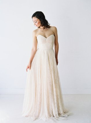Lace and chiffon wedding dress - www.etsy.com/shop/Truvelle