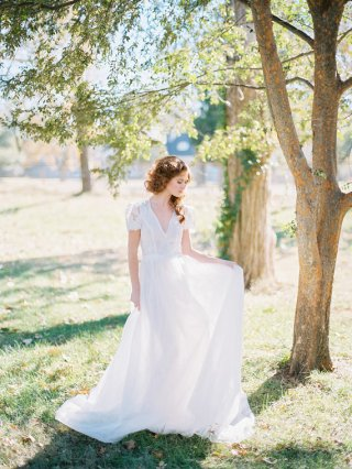 Lace, tulle and chiffon wedding dress - www.etsy.com/shop/floraandlane