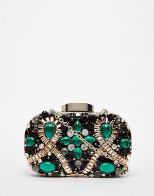 ALDO Box Clutch With Emerald Green Embellishment, from asos.com