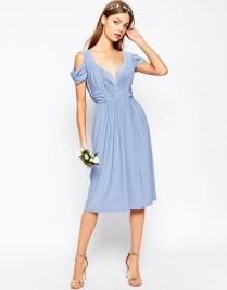 Asos blue drape bridesmaid dress - asos.com