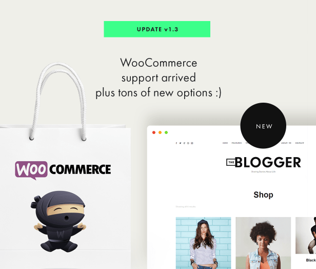 theblogger theme woocommerce support