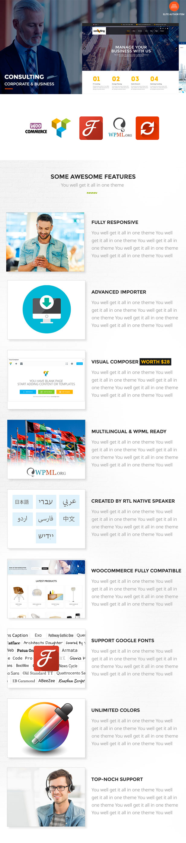 premium consulting, business, corporate WordPress theme