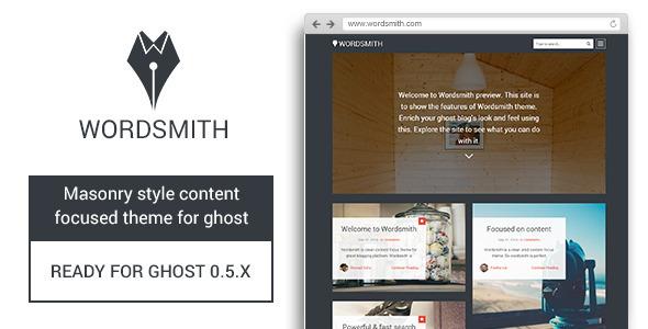 Wordsmith - Masonry Style Ghost Theme - Ghost Themes Blogging