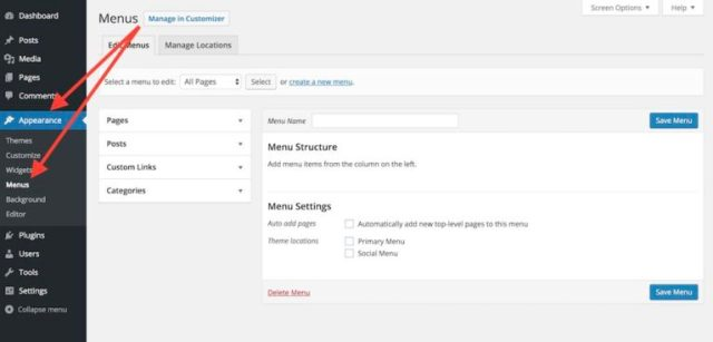 WordPress custom menus