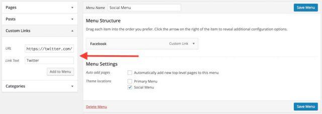 Adding social links