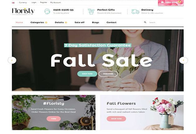 Pav Floristy Responsive Flower shop Opencart theme built with Page ...