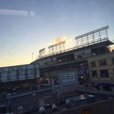 Sunset over Wrigley Field.