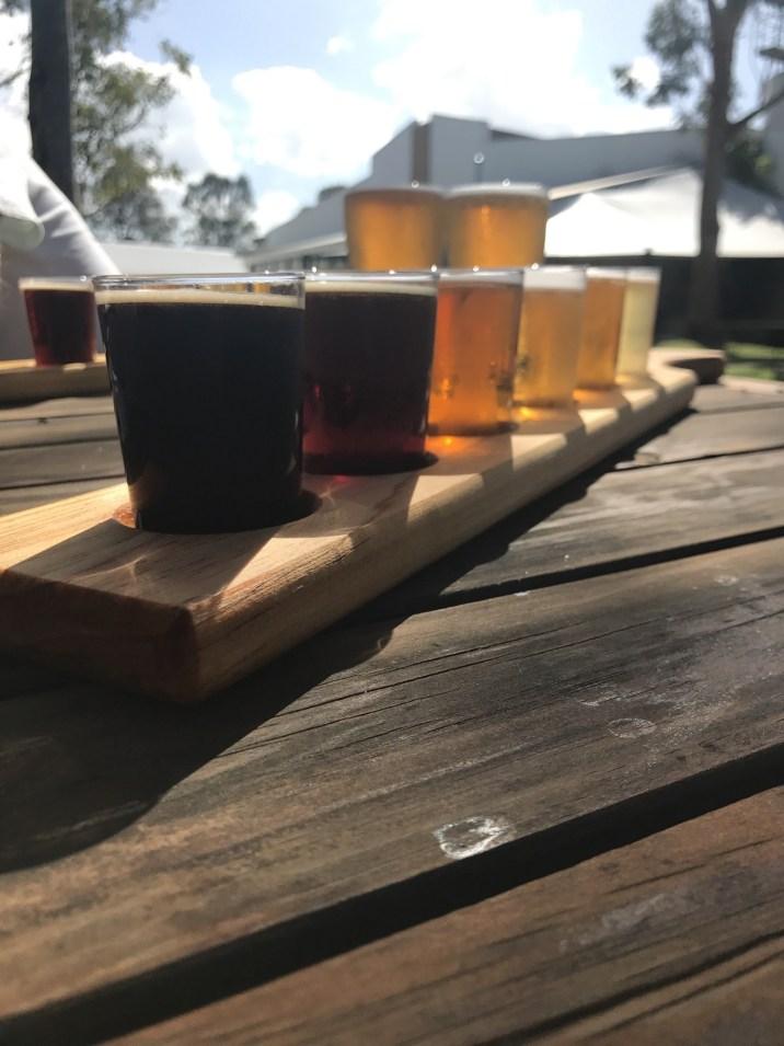 beer tasting paddle in hunter valley