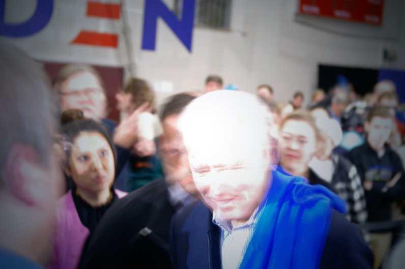 Democratic candidate Joe Biden rallies his supporters at Alvira High School, Londonderry, New Hampshire