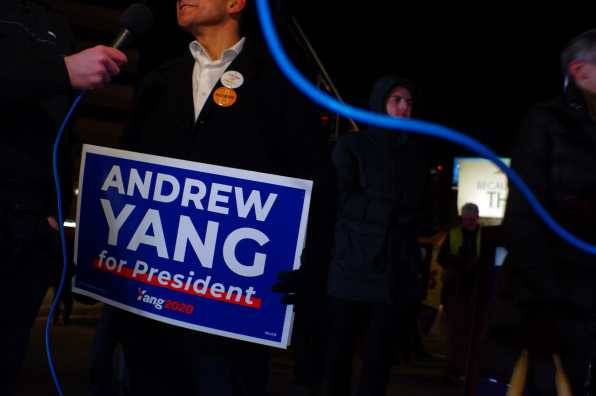 Andrew Yang supporter outside the McIntyre Shaheen 100 Club Dinner on February 8, 2020