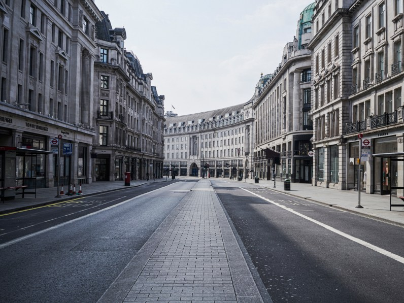 A deserted Regents Street, London