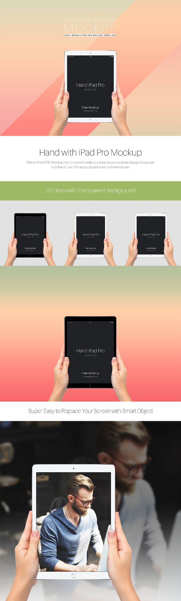 Free Mockup - Free iPad Pro Mockup held by hands
