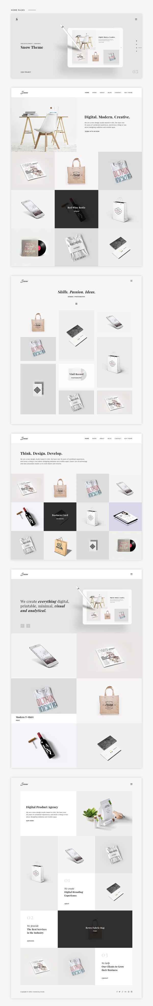 Snow Free PSD And HTML Portfolio Template ThemeUI - Digital portfolio template