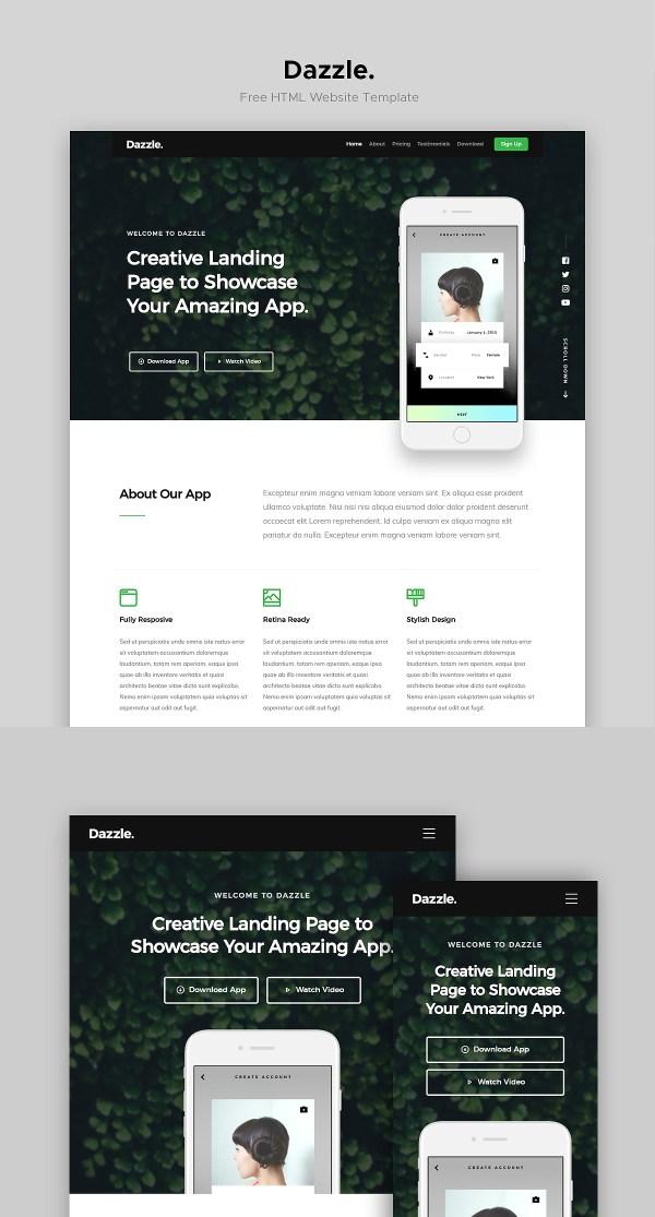 Dazzle: Free Landing Page Website Template | Theme-UI