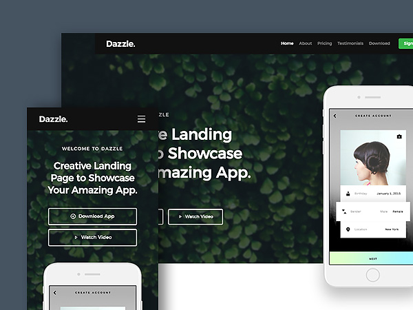 Dazzle: Free Landing Page Website Template