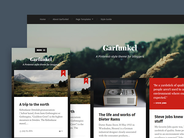 Garfunkel: A Pinterest-style Free Wordpress Theme for Bloggers