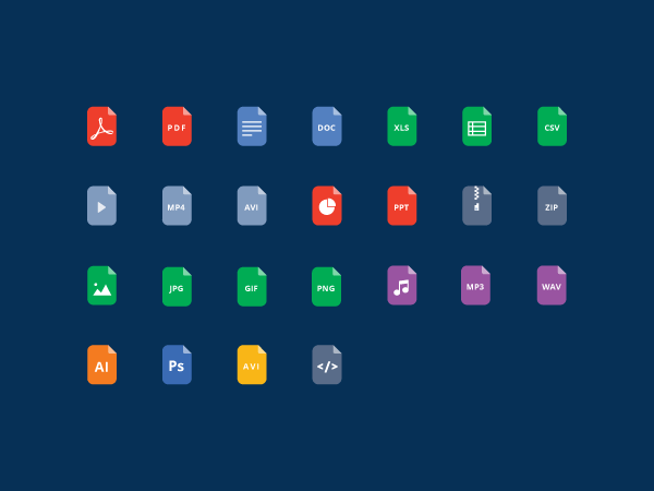 Free File Format Flat Icons