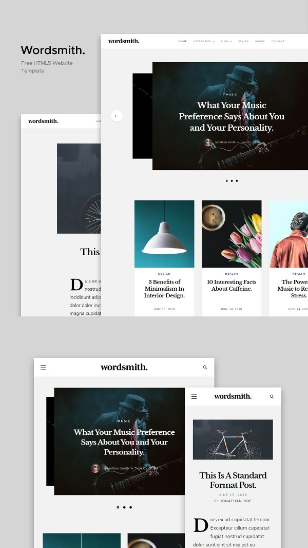 Wordsmith - Free Blogging Website Template