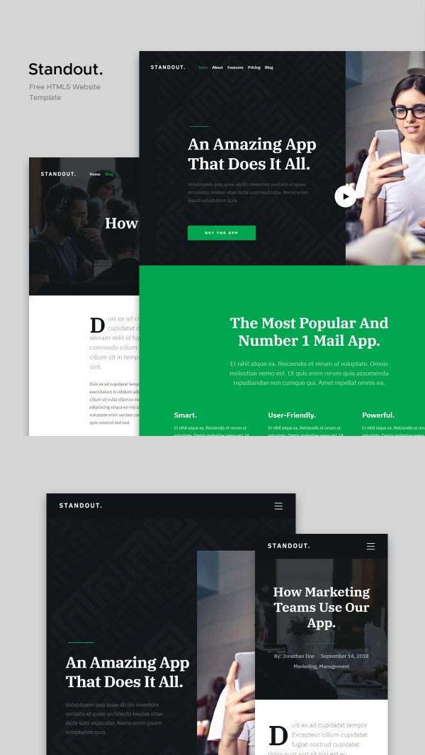 Standout - Free App Landing Page Website Template