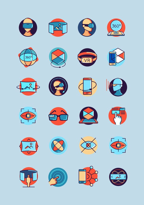 48 Colorful Virtual and Augmented Reality Free Icons 01