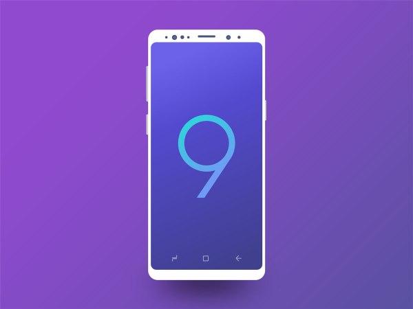 Galaxy S9 Minimal Clean Mockup - white