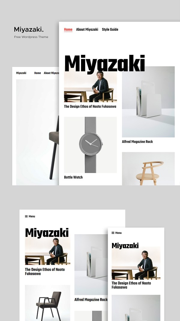 Miyazaki - Free WordPress Theme for Portfolios, and Blogs