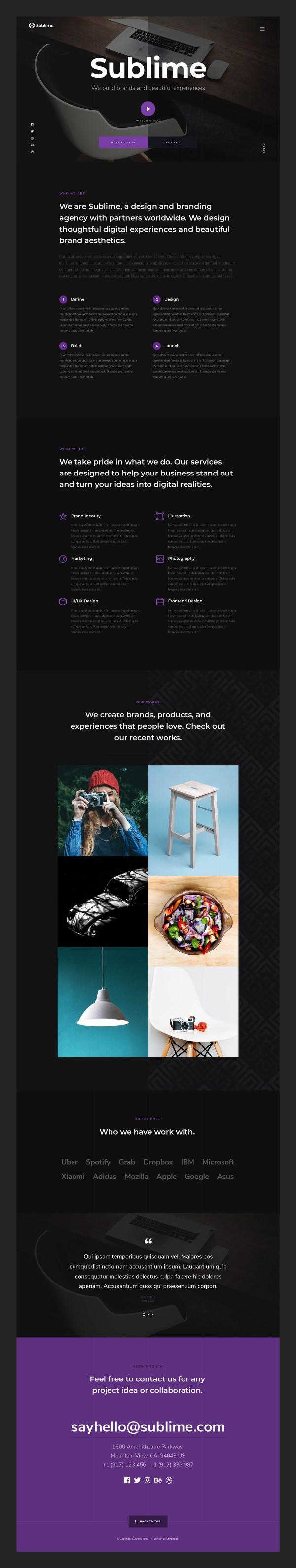Sublime - Agency Portfolio Free PSD Template 02