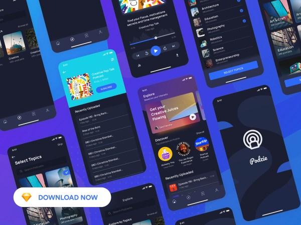 Podzie - Podcast App Free UI Kit  01