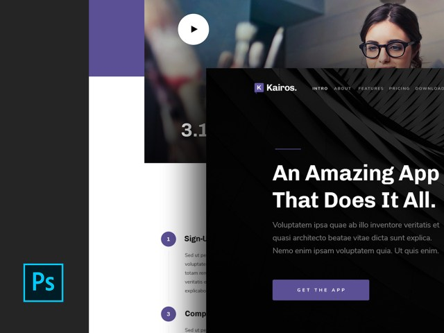 Kairos - Modern App Landing Page Free PSD Template 01
