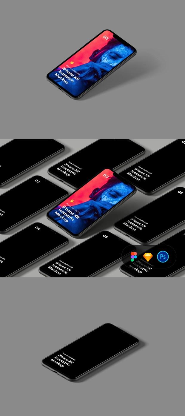 Free Isometric iPhone XR Mockup