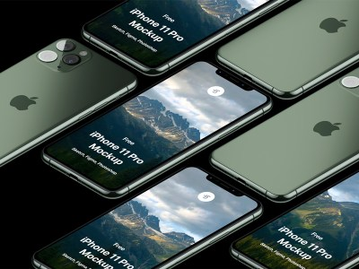Free iPhone 11 Pro Isometric Mockup