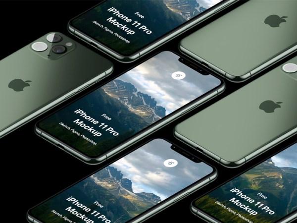 Free iPhone 11 Pro Isometric Mockup