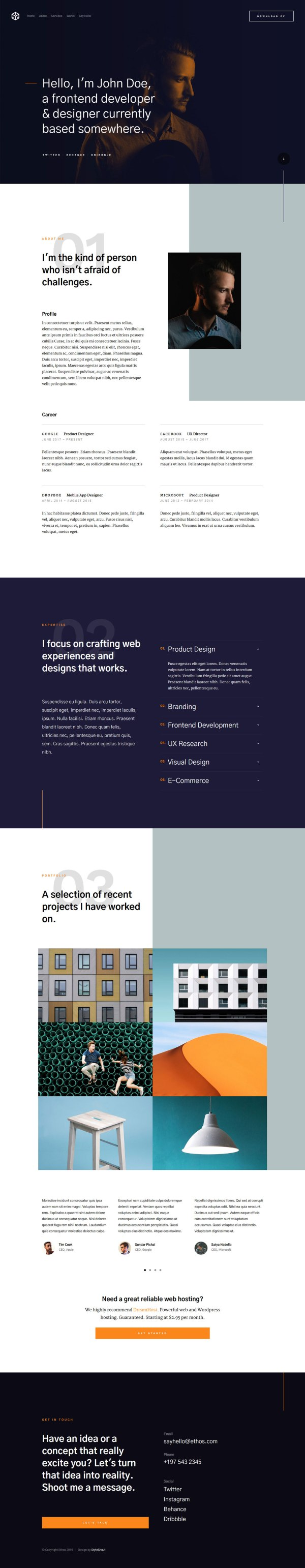 Ethos — Modern Free Resume Website Template 02