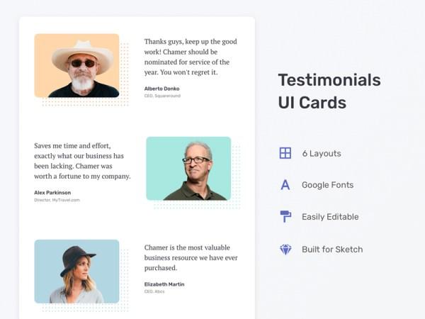 Testimonial Free UI Cards