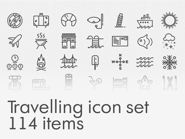 Travelling Free Icon Set