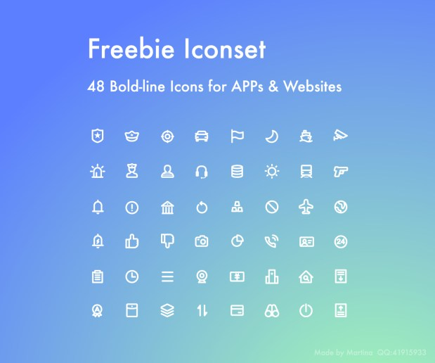 48 Bold-line Free Icons for Apps and Websites