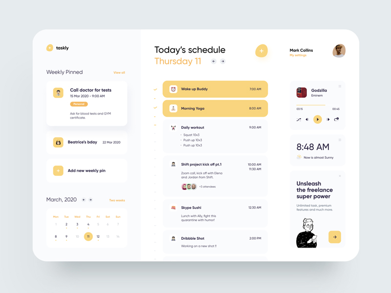 Freelancer Schedule Web App Free UI Kit