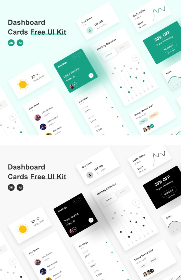 Dashboard Cards Free UI Kit