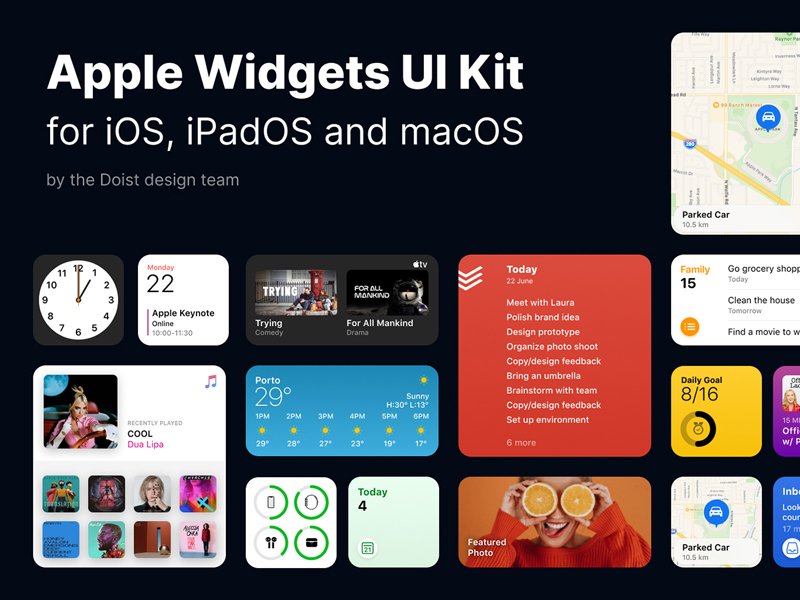 iOS 14 Widgets Free UI Kit for Figma
