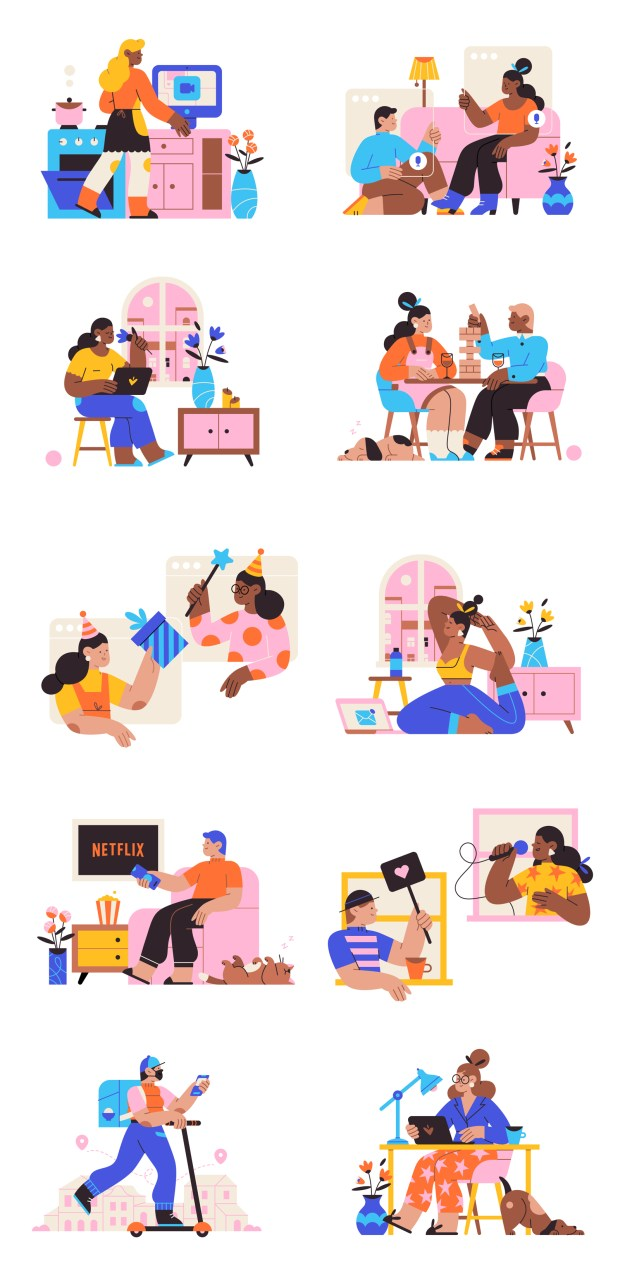 Working From Home Free Illustration Pack