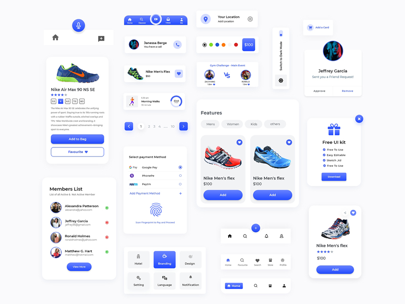 22+ Components Free UI Kit