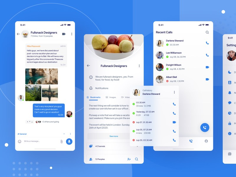 Messaging App UI Kit Freebie for Figma