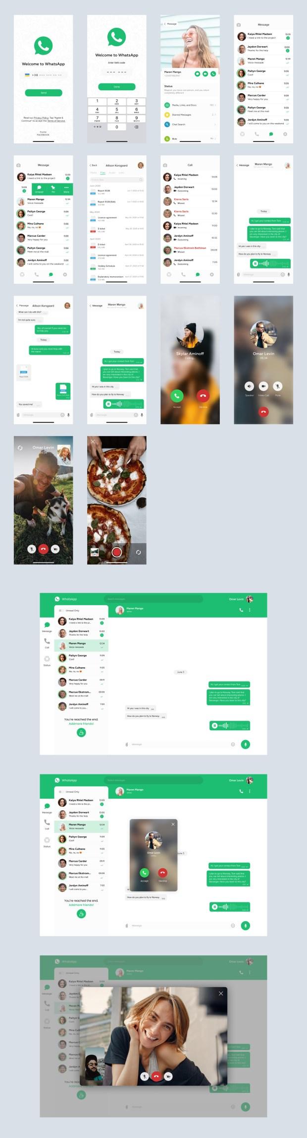 WhatsApp Redesign - Free UI Kit for Figma