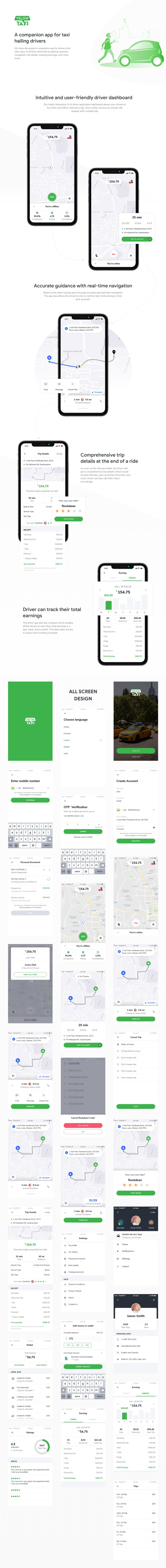 Uber-like Taxi Hailing Driver App UI for Adobe XD