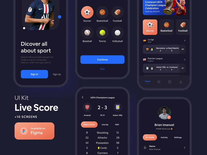 Live Score Free UI Kit for Figma